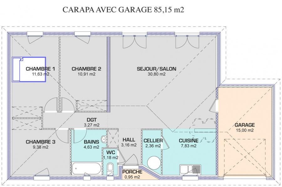 Plan maison 180 m2 plain pied maison maison ide louane for Plan maison 90m2 plain pied