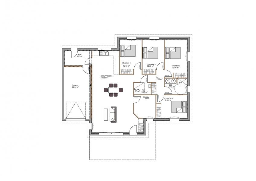 constructeur demeures de la c te d 39 argent pr sente sa maison rebenacq. Black Bedroom Furniture Sets. Home Design Ideas