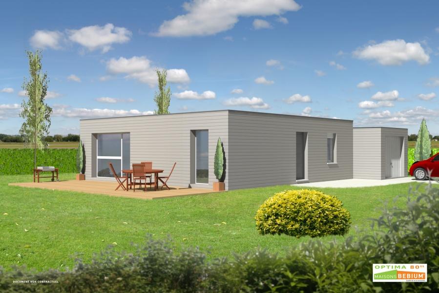 Kubiq présente sa maison Optima 90 ossature bois toit terrasse