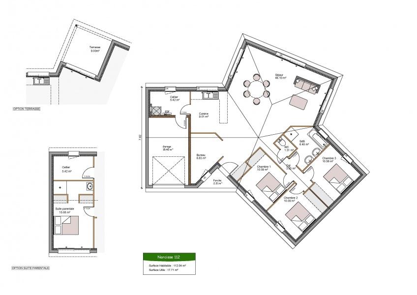 constructeur maisons clairlande pr sente sa maison narcisse. Black Bedroom Furniture Sets. Home Design Ideas