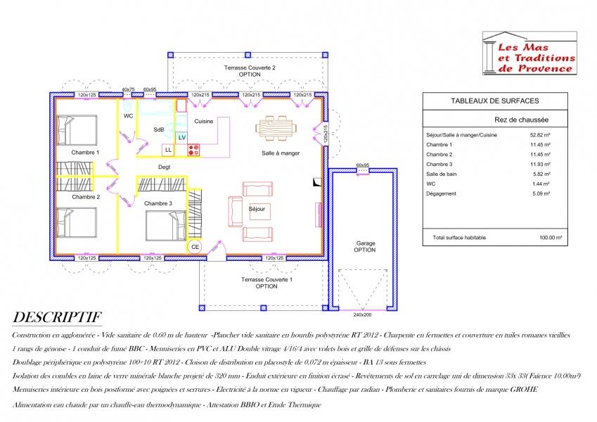 constructeur les mas et traditions de provence presente sa With amazing maison de 100m2 plan 2 constructeur les mas et traditions de provence presente sa