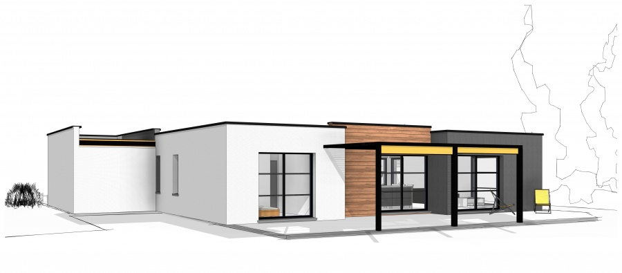 Constructeur maisonneuve pr sente sa maison maison cubique plain pied de 151 m - Maison cubique plain pied ...
