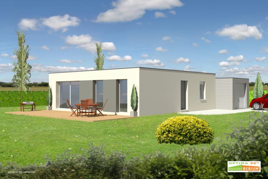 constructeur kubiq pr sente sa maison optima 90 toit terrasse. Black Bedroom Furniture Sets. Home Design Ideas