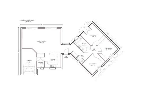 constructeur maisons lca pr sente sa maison mod le chrystaline 105 pr t d corer. Black Bedroom Furniture Sets. Home Design Ideas