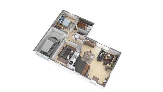 Constructeur Maisons Phenix Presente Sa Maison Welcome 70 L Garage 3d